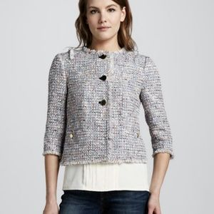 Tory Burch Tweed Wool Blend Button Jacket